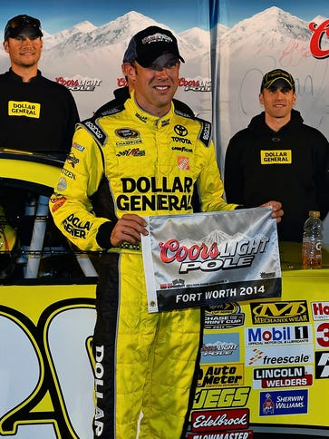 Matt Kenseth celebrates his second pole of the season.