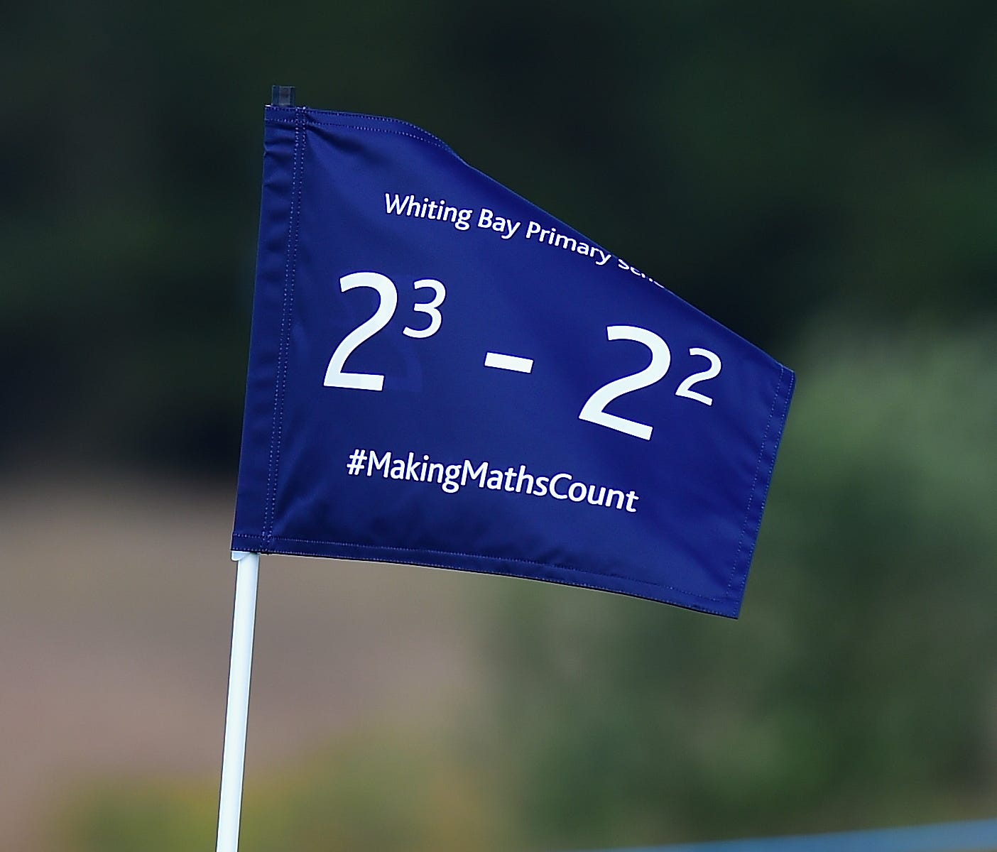 A flag on the 5th green with mathematical equations replacing the traditional hole numbers on Making Maths Count Day during the first round of the AAM Scottish Open at Dundonald Links Golf Course on July 13, 2017.