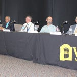 Grant County Democratic Party hosts forum for Democrat county commissioner candidates. They are from left, running for District 3, Ralph Dominguez and Alicia Edwards; running for District 4, Marilyn Alcorn, Jeremiah Garcia and James McCauley; and for District 5, Harry Browne, Stephen Edwards and Simon Ortiz.