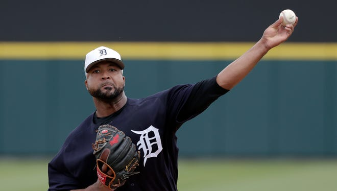 Detroit Tigers pitcher Francisco Liriano throws in the first inning against the Atlanta Braves, Sunday, March 11, 2018 in Lakeland, Fla.