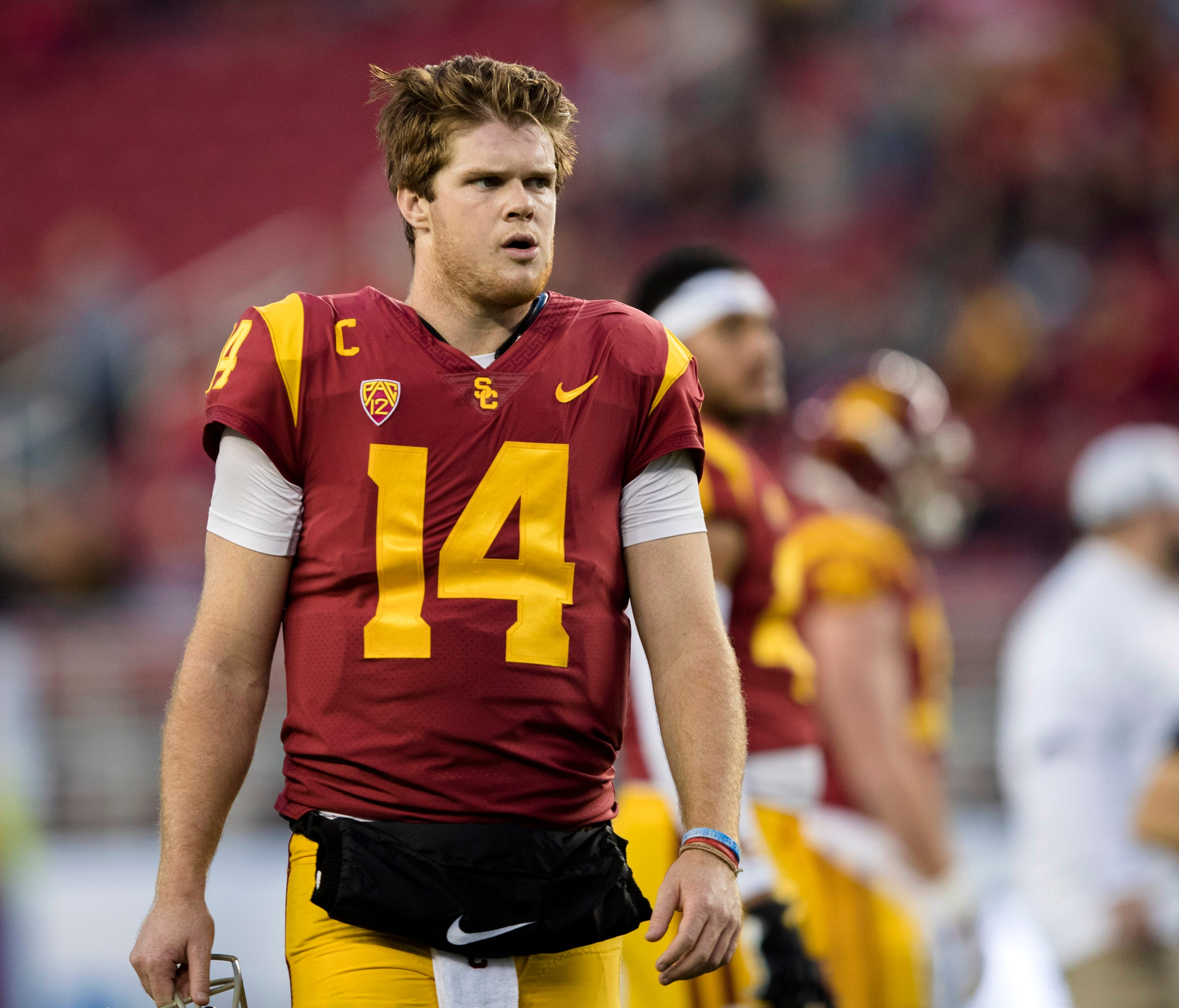 USC Trojans quarterback Sam Darnold (14) watches warmups before the game against the Stanford Cardinal in the Pac-12 Conference championship game at Levi's Stadium.