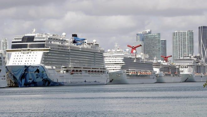 Cruise ships docked at PortMiami.