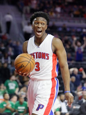 Detroit Pistons forward Stanley Johnson reacts after being called for a foul against the Boston Celtics on Dec. 26, 2015, in Auburn Hills.