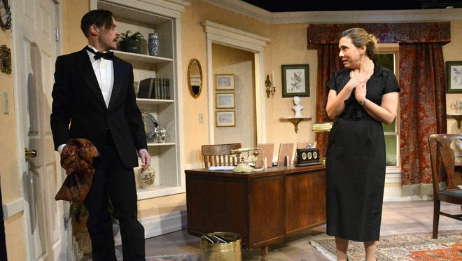 "Rian Jairell, left, and Kristy Hartsgrove Mooers, right, in the Riverside Theatre production of ""Line of Descent."""
