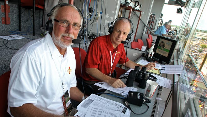 Iowa State football broadcasters Eric Heft, left, and John Walters, right, are shown before a game in 2013. Cyclones.tv used their radio broadcast to complement the images on the TV screen.