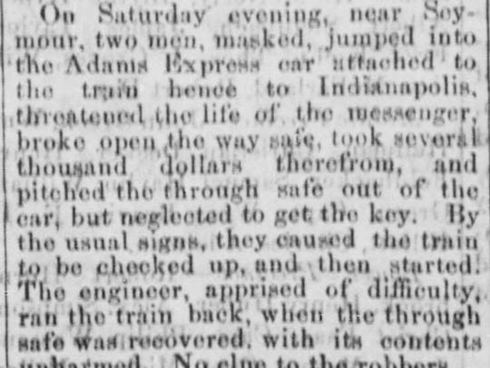 The Evansville Daily Journal, Oct. 8, 1866 story about the first train robbery in Seymour, Indiana.