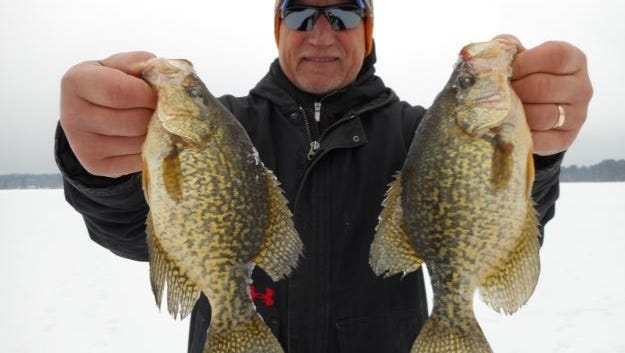 Greg Miller, host of 'The Hunt' fished for panfish with guide Jeff Evans on December 14, 2014.