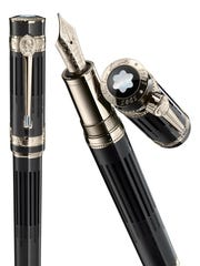The Montblanc pens feature 18-karat gold fittings, a blue sapphire embedded in the clip, a mother-of-pearl cap ringed by three diamonds and an 18-karat gold tip.