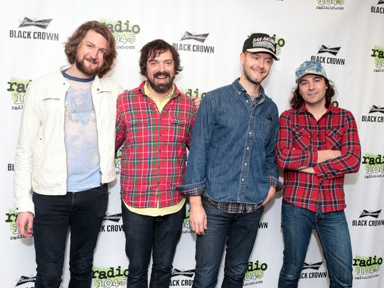 Robbie Bennett, from left, Charlie Hall, David Hartley and Adam Granduciel of the band The War On Drugs visit the Radio 104.5 Performance Theater on Thursday, March 26, 2015, in Philadelphia. (Photo by Owen Sweeney/Invision/AP)