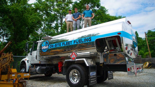 (left to right)Sam Bacharach, Bailey O'Brien and Amedeo Deluca, all co-founders of an on-site fueling company called D150 Fueling that they have created to deliver fuel to commercial fleets so employees don't have to fuel vehicles themselves.