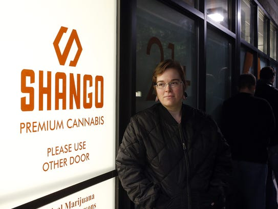 Davia Fleming, 29, lines up outside of Shango Premium