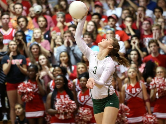 Lincoln's Amber Grant serves the ball against Leon during their District 2-8A championship game at Chiles High School last year.
