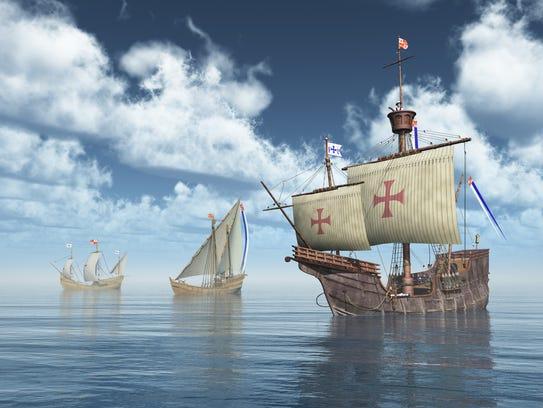 Illustration with the ships Santa Maria, Nina and Pinta