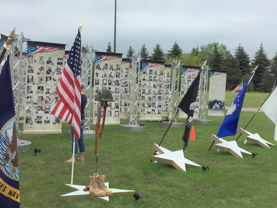 """Remebering Our Fallen,"" a traveling exhibit, was on display last weekend in front of Northville High School."
