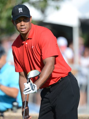 Tiger Woods on the 18th hole during the final round of the Wyndham Championship golf tournament in August of 2015.