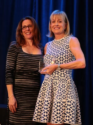 Selby Dunham the founder of BIGHORN BAM, with Lisa Houston, left, at the Women's Leadership Forum luncheon.