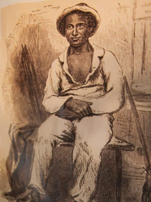 """An undated copied illustration of Solomon Northup """"in his plantation suit."""""""