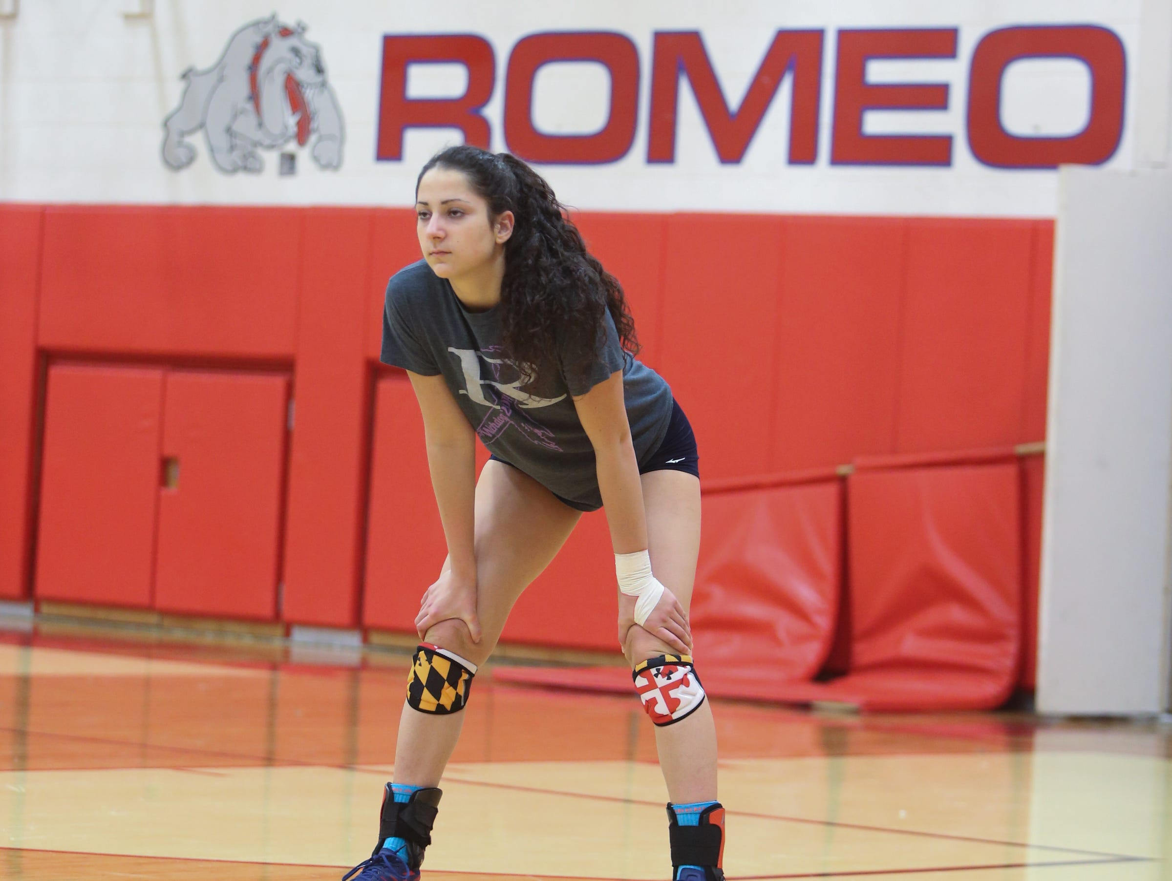 Gia Milana a senior on the Romer high school volleyball team practices Monday, October 26, 2015 at Romeo high school in Romeo Michigan.