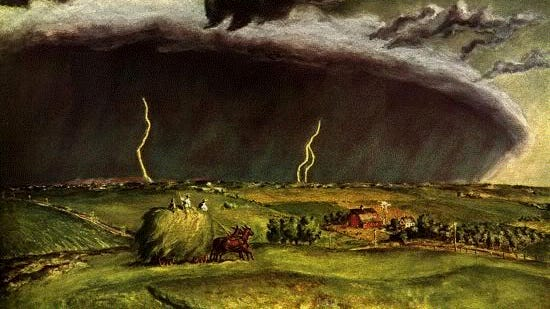 """""""The Line Storm,"""" by John Steuart Curry, 1897-1946, a painting possibly inspired by the approach of a derecho-producing storm in Curry's home state of Kansas."""