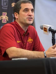 Iowa State Head Coach Steve Prohm speaks during media