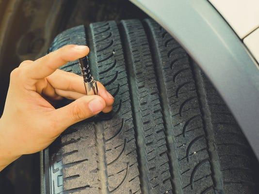 Measuring tread wear on a tire on a car.Safe to use on a daily basis.