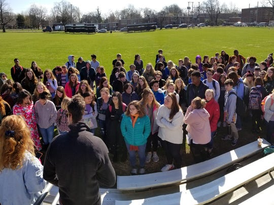 Students at Central Magnet School gather during National