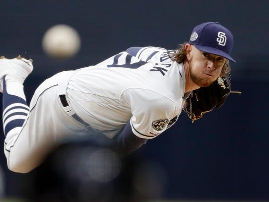 San Diego Padres starting pitcher Chris Paddack works