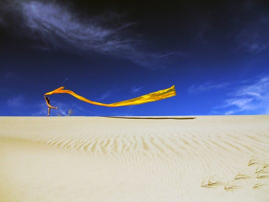 In this photo titled Exuberance, the element of wind is captured. Photographer Terry Hastings uses four elements to photograph his models.