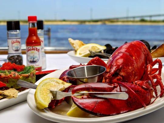 A steamed lobster dinner at Bahrs Landing in Highlands.