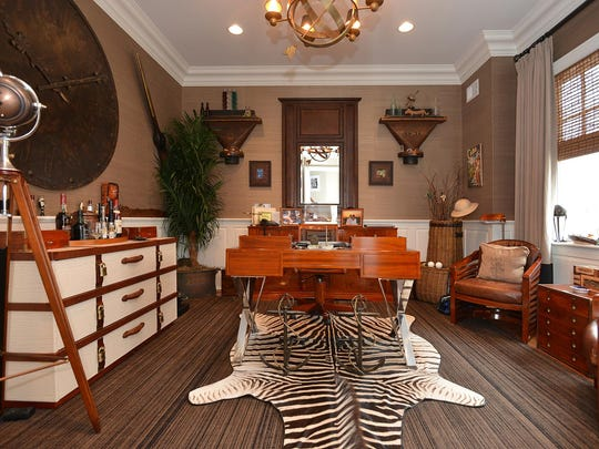 This Point Pleasant mansion has a luxurious home office.