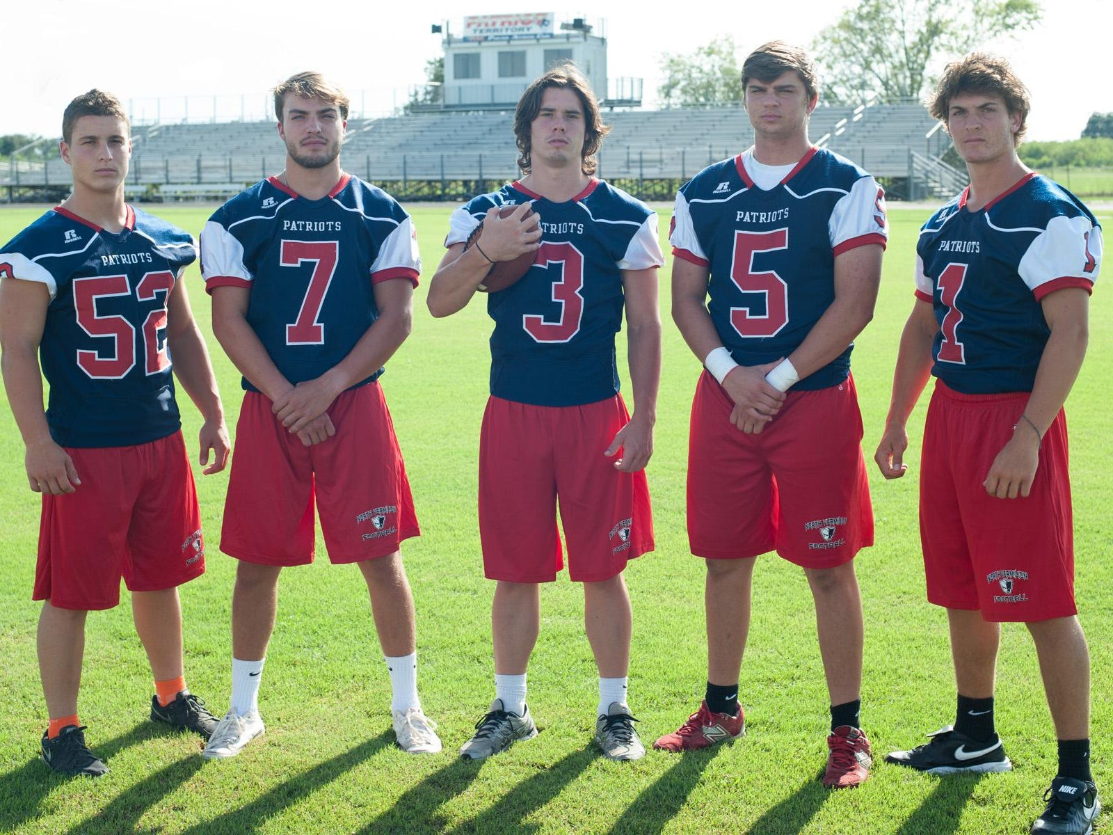 Photo courtesy Beverly VincentNorth Vermilion offensive standouts Charlie Gallusser (52), Dylan Dent (7), Dade Dieterich (3), Alan Rowell (5) and Connor Dupuy (1) prepare for a competitive season in District 8-3A.