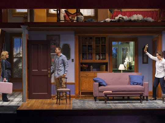 """Delivering big laughs in UD REP's """"The Things We Do for Love"""" are, from left, Elizabeth Heflin (Nikki), Mic Matarrese (Hamish) and Kathleen Pirkl Tague (Barbara)."""