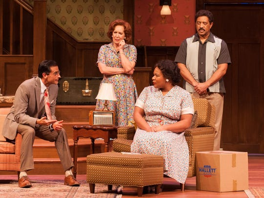 "Michael Gotch (Karl), Kathleen Pirkl Tague (Bev), Jasmine Bracey (Francine) and Hasson El-Amin (Albert) perform in the University of Delaware REP's production of ""Clybourne Park."""