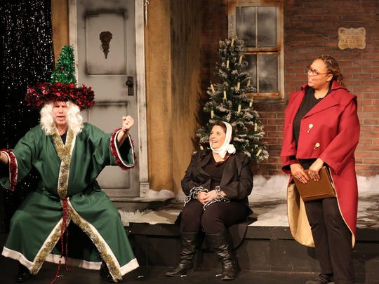 "Frank Newton, from left, Colleen Boyle and Brooks Black star in the Chapel Street Players' ""Every Christmas Story Ever Told (And Then Some!)"""