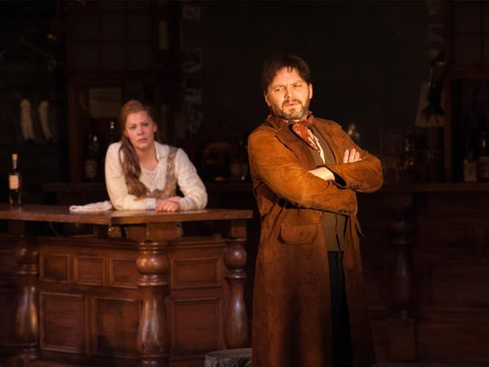 "Sara Griffin as Annette and Mic Matarrese as the myterious stranger in ""The Bells"" by the University of Delaware Resident Ensemble Players."