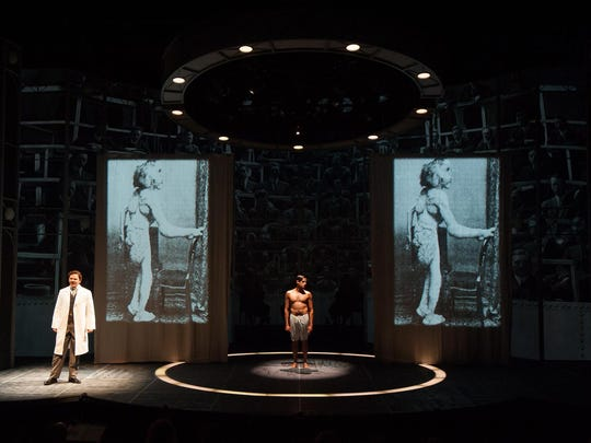 """Mic Matarrese, left, and Michael Gotch start in the REP's production of """"The Elephant Man,"""" which also features video projections and brief nudity."""