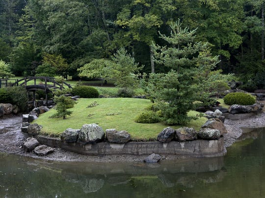 The Japanese Garden at The Dawes Arboretum, which was designed in 1963 by Makoto Nakamura.