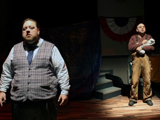 """A two-person cast of Aral Gribble and Patrick Loos take on more than 15 charcters in Williamston Theatre's """"Popcorn Falls."""""""