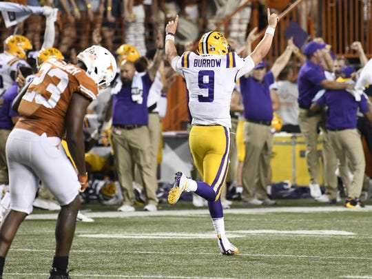 Sep 7, 2019; Austin, TX, USA; Louisiana State Tigers quarterback Joe Burrow (9) after throwing his fourth touchdown pass in the second half against the Texas Longhorns at Darrell K Royal-Texas Memorial Stadium. Mandatory Credit: Scott Wachter-USA TODAY Sports