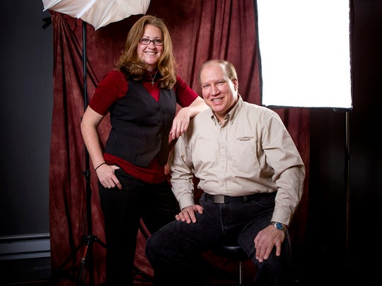 John Pacetti, owner of South Street Photography, and his associate Lauren Kuhn at the studio in Freehold Township.