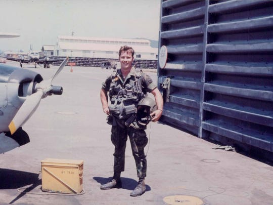 John E. McDonough, sergeant U.S. Air Force, served in Vietnam. Here is pictured getting ready to board a helicopter, circa 1971.