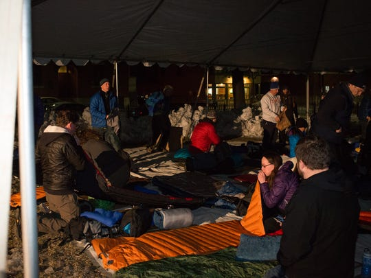 Setting up for last year's Sleep Out in Burlington.