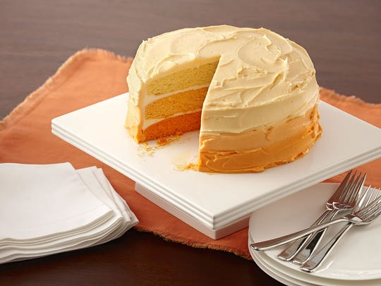 Orange ombre cake sets a lovely tone for fall.