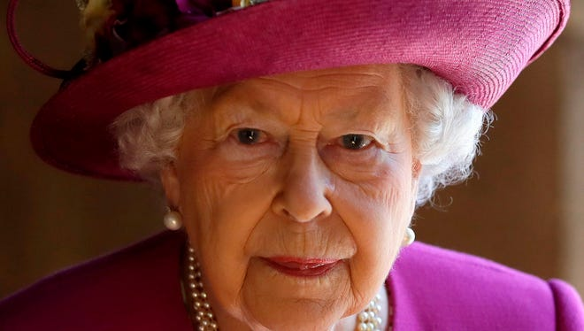 "Queen Elizabeth II at Westminster Abbey after visiting ""The Queen's Diamond Jubilee Galleries"" in London on June 8, 2018."