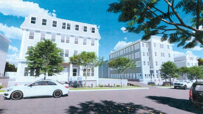 A digital rendering of the proposed project for 60-88 Broad St. in Bridgewater, which would raze two vacant buildings and build four four-story mixed-use spaces with commercial space on the first floors and apartments above.