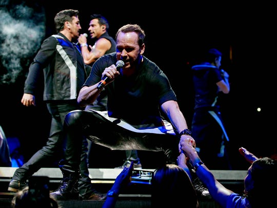 New Kids on the Block perform at Gila River Arena in Glendale, Tuesday, May 12, 2015.
