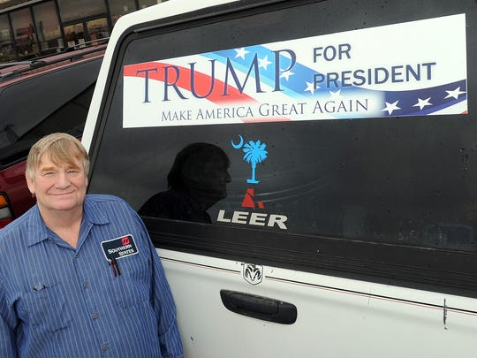 Bobby Best is a Donald Trump supporter from Sussex County living near Lewes who proudly displays his bumper sticker on the rear of his truck.