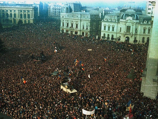 Thousands fill downtown Bucharest, Romania, on Dec. 22, 1989 for a demonstration in the uprising that toppled Communist dictator Nicolae Ceausescu.