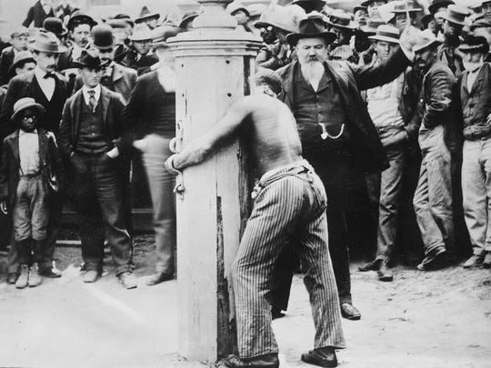 Photo of a public whipping – a fate that befell one con man whose game was bilking boarding houses, hotels and summer resorts.