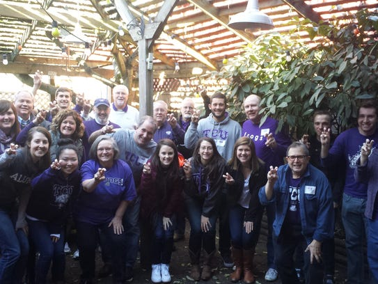 Portland TCU fans gather to cheer on the Horned Frogs